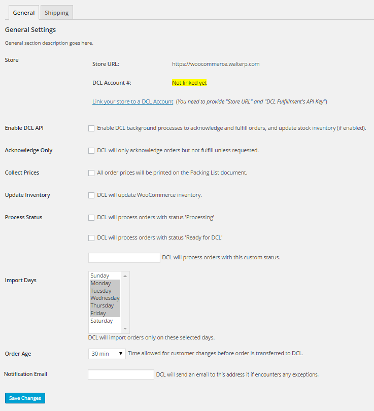 DCL Fulfillment Settings